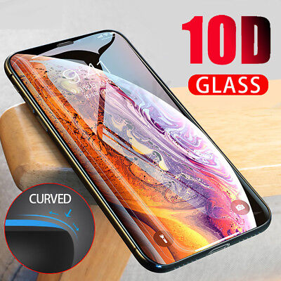 10D Curved Tempered Glass Screen Protector Guard For iPhone XS Max XR XS 8 Plus