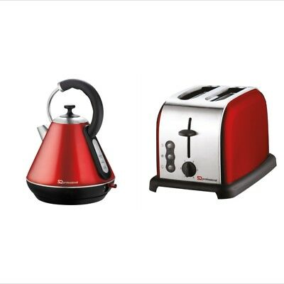 1.8L Cordless Pyramid Electric Kettle and 2 Two Slice Wide Slot Toaster Set Red