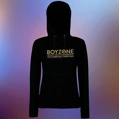 Women's Boyzone Thank you & Goodnight 2019 Tour Glitter Gold Vinyl Black Hoodie