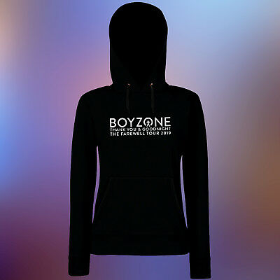Women's Boyzone Thank you & Goodnight 2019 Music Tour White Vinyl Black Hoodie