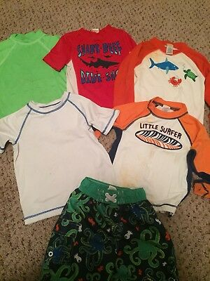 Gymboree Rash guards and board shorts bathing suit 3t lot of 6