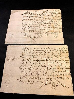 LOT OF TWO ANTIQUE DOCUMENTS  1500s