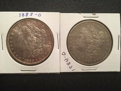 Lot of 2 - Morgan Silver Dollars (1883 - 1884) (New Orleans Mint)