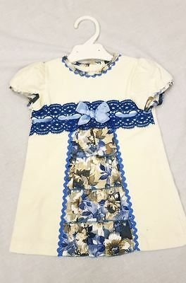 Girls Spanish Romany Velour Dress with Blue Bow & Floral Panel by Alber 12-36 m