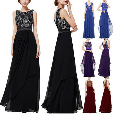 Women Long Chiffon Dress Evening Formal Party Ball Gown Prom Bridesmaid Dress AU