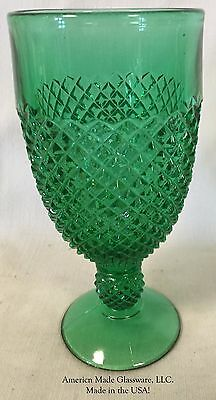 Hunter Green Glass Addison Pattern Footed Goblet - Mosser USA