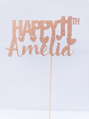 PERSONALISED 14th Birthday Cake topper//banner Many colours including ROSE GOLD