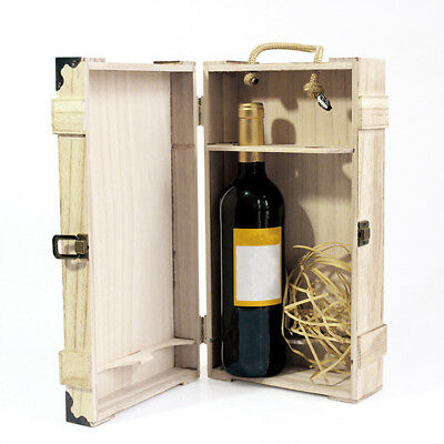 Natural Wooden Dual Wine Box Space Bottle Carrier Case Valentines Present Party