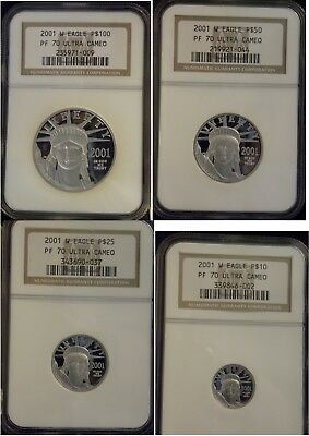 2001-W 4-Coin Set$100 $50 $25 $10 Platinum American Eagle Proof graded NGC PF70