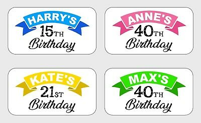 24 Personalised Birthday Party Bag Stickers Labels Thank You Seals Sweet Cones