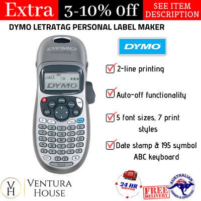 DYMO LetraTag Personal Label Maker LCD Screen w/ 2 Line Printing Machine Silver