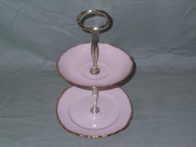 Royal Vale Biscuit Plate Small Cakestand Pink & Gold