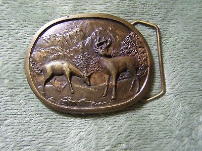 Vintage Brass Belt Buckle Indiana Metal Craft Deer and Mountains