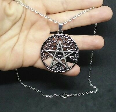 Celtic Tree Of Life Pentagram Large Pendant Wiccan Pagan Druid Necklace