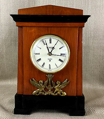 Vintage Wooden Mantle Clock Egyptian Revival Regency Antique Style Large