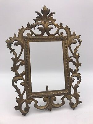 Cast Iron N B MFG CO Early 1900s Art Nouveau Ornate Stand Up Picture Frame 2033A