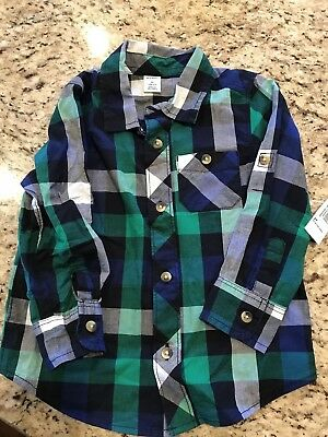 New Toddler Boys 2t Old Navy Plaid Button Up Shirt