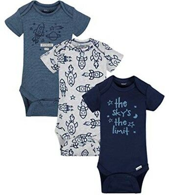 GERBER BABY BOY Organic Cotton Onesies Bodysuits Variety 3-Pack - ROCKETS - NWT