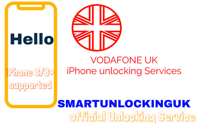 UK FAST Vodafone Unlocking service 8 8 PLUS 7 7 PLUS 6 plus CLEAN IMEI