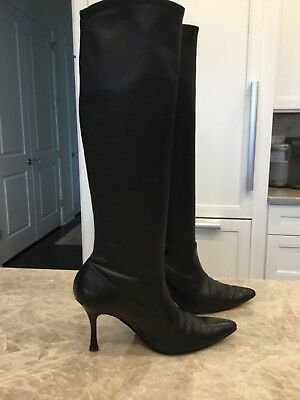 bcaad4d75e95e Authentic Manolo Blahnik Black Leather Knee High Stiletto Pull-On Boots  Euro 40