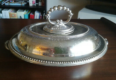 Antique Silver Plated Oval Entree Dish, Benetfink & Co Cheapside c1850