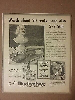 1936 Budweiser Beer Ad St Louis, Missouri Worth About 90cents