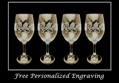 Celtic Welsh Dragon 18oz Clear Wine Glass set of 4: Free Shipping