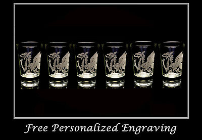 Welsh Dragon 1.5oz Shot Glass Set of 6 - Free Personaliztion, Free Shipping