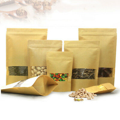 20/50pcs Brown Kraft Paper Bags Open Top Seal Vacuum with Frosted Clear Window