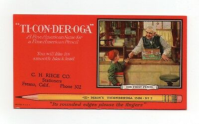 "TICONDEROGA PENCILS Ink Blotter - 3⅜""x6¼"", ""His First Pencil"" by NORMAN ROCKWELL"