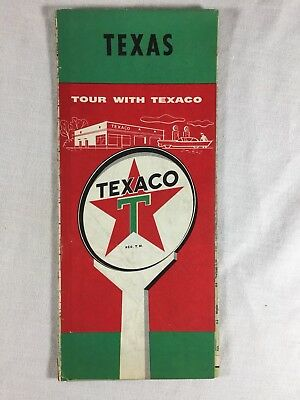 Vintage 1950's Texaco Road Map Texas Gas Oil Service Filling Station