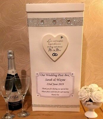Personalised Wedding Card Post Box Diamantes Hearts Bling Love Laughter Mr & Mrs