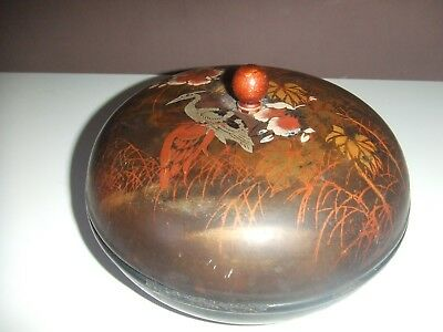 Antique Chinese / Japanese Lidded Lacquered Bowl Bird And Flowers