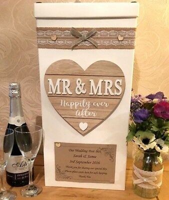 Wedding Card Post Box Personalised  Mr & Mrs Happily Ever Plaque Shabby Hessian