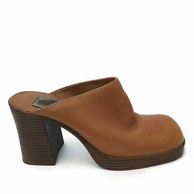 8ffd4c27895a7 VTG 90S BROWN Suede Leather Chunky Heel Platform Club Mule Clog size ...