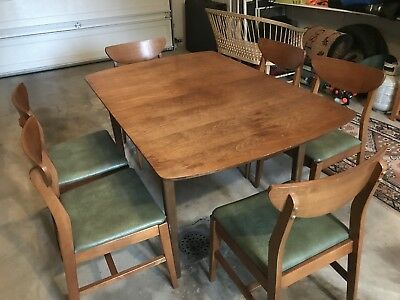 Mid Century Walnut Dining Table Set - 3 Leafs - 6 Chairs  Lane?