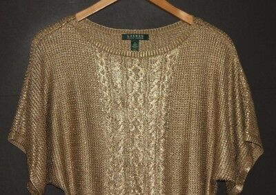 Ralph Lauren Gold Metallic Short Sleeve Sweater Top Cable Knit Pullover S Small