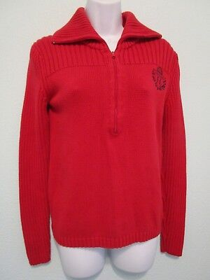 758c6a5bf1 Tommy Hilfiger Women s M 1 2 Zip Pullover Sweater Cable Knit Red Cotton