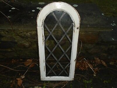 vintage leaded glass round top window from church stained