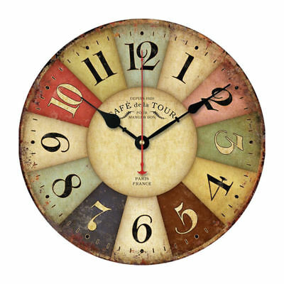 Wall Clock Colorful Retro Vintage Rustic Wooden Round Face Home without Cover