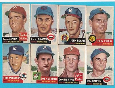 1953 Topps lot of eight lesser condition cards.