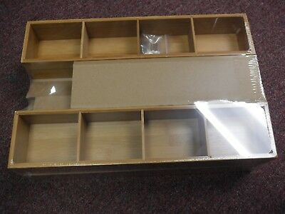 New Seville Classics Expandable Bamboo Drawer Organizer and 2 Boxes BMB17576