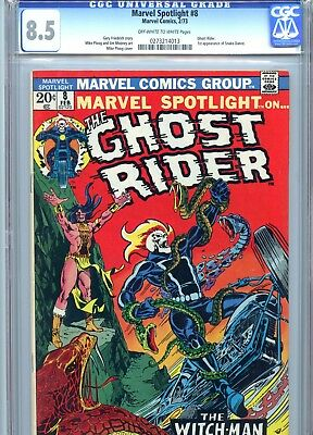 Marvel Spotlight #8 CGC 8.5 OW-White Pages Ploog Cover & Art Ghostrider 1973