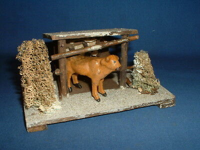 Vintage German Germany Christmas Putz Wooden Stable with Composition Cow