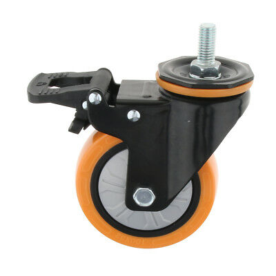 360° Rotated Industrial Castor Screw Dual Brake Single Bearing Caster Wheel