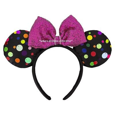 Disney Parks Minnie Mouse Multi-Color Polka Dot Ear Headband(NEW)