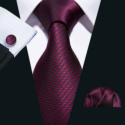 Barry Wang Classic Wine Red Burgundy Striped Silk Tie Necktie Set Wedding