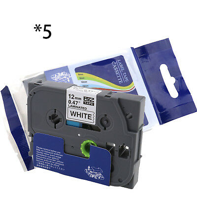 5PK Black on White TZ-231 TZe231 Label Tape for Brother P-touch PT-310 12mm
