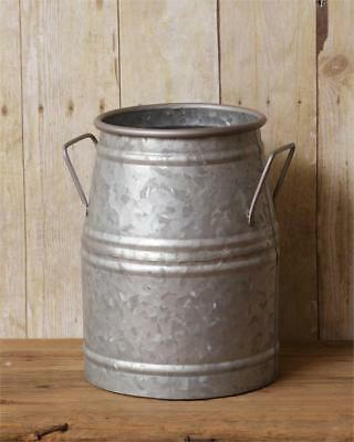 New Primitive FARMHOUSE MILK CAN GALVANIZED Bucket Holder Country Vintage Vase