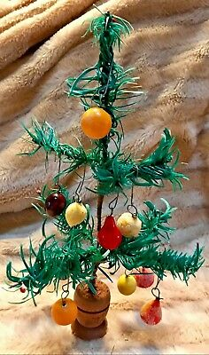 """Antique VTG 10"""" Paper Feather Tree W 10 Waxed Frosted Fruit Christmas Ornaments"""